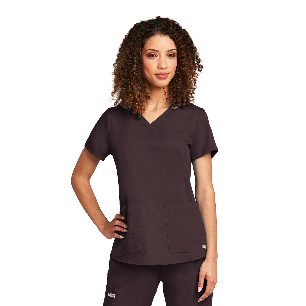 (71166) - Grey's Anatomy Scrubs - 2 Pocket V-Neck Shirr Back