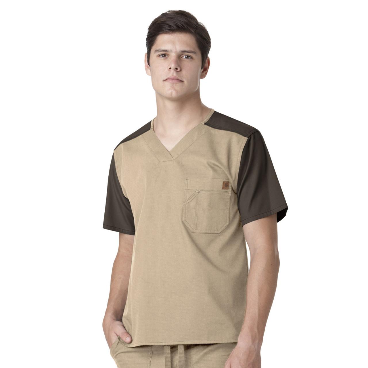(C14108) Carhartt Ripstop Men's Contrast V-neck Utility Scrub Top