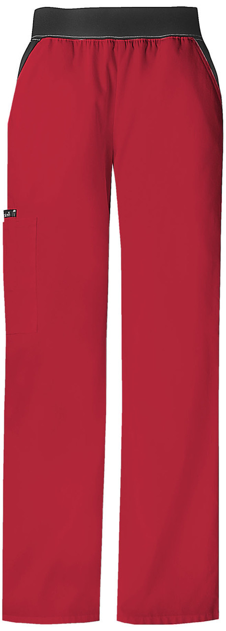 Cherokee Flexibles Scrubs Women/'s PETITE Mid-Rise Knit Waist Pull-On Pant