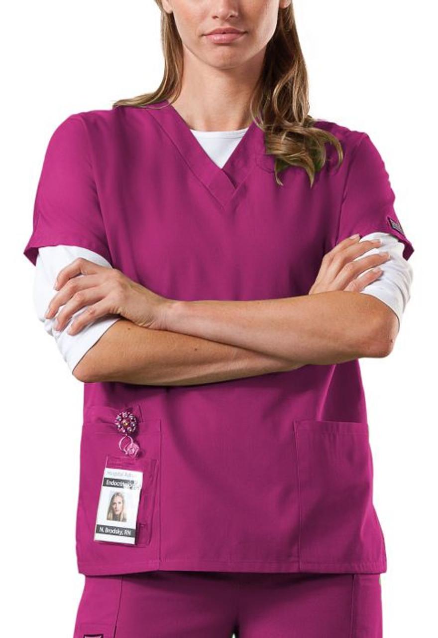 Cherokee 4700 Scrubs MEDICAL Workwear Women Nurse Medical RED Shirt LARGE New