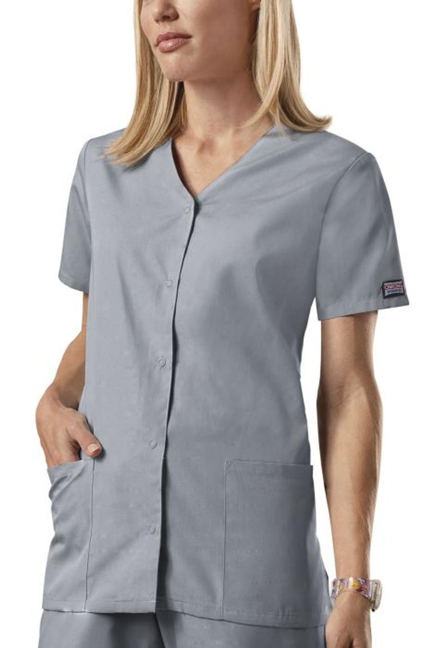 (4770) Cherokee Workwear Scrubs Originals - Snap Front V-Neck Top