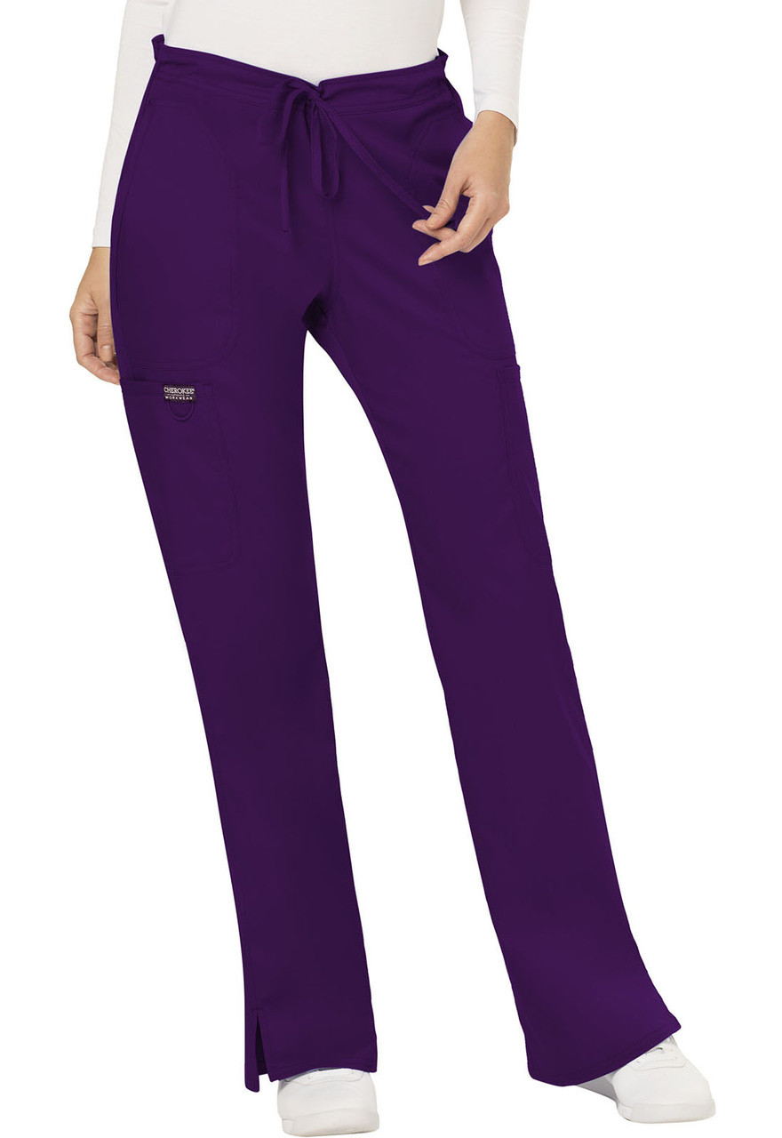 10b3a7e3610 (WW120P) Cherokee Workwear Revolution Scrubs Mid Rise Moderate Flare  Drawstring Pant (Petite) ...