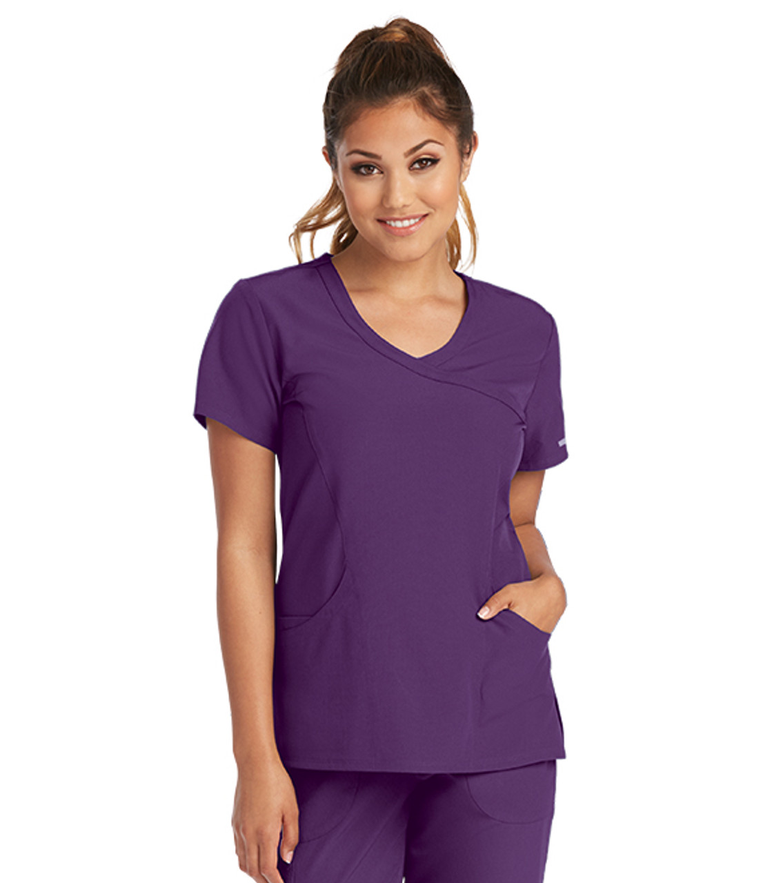 (SK102) Skechers Scrubs - Reliance 3 Pocket Mock Wrap Scrub Top - Eggplant