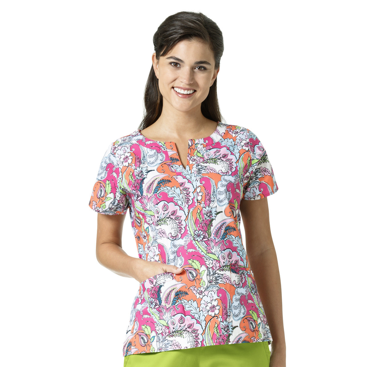 (V6207) Vera Bradley Signature Linda Notch Neck Print Scrub Top