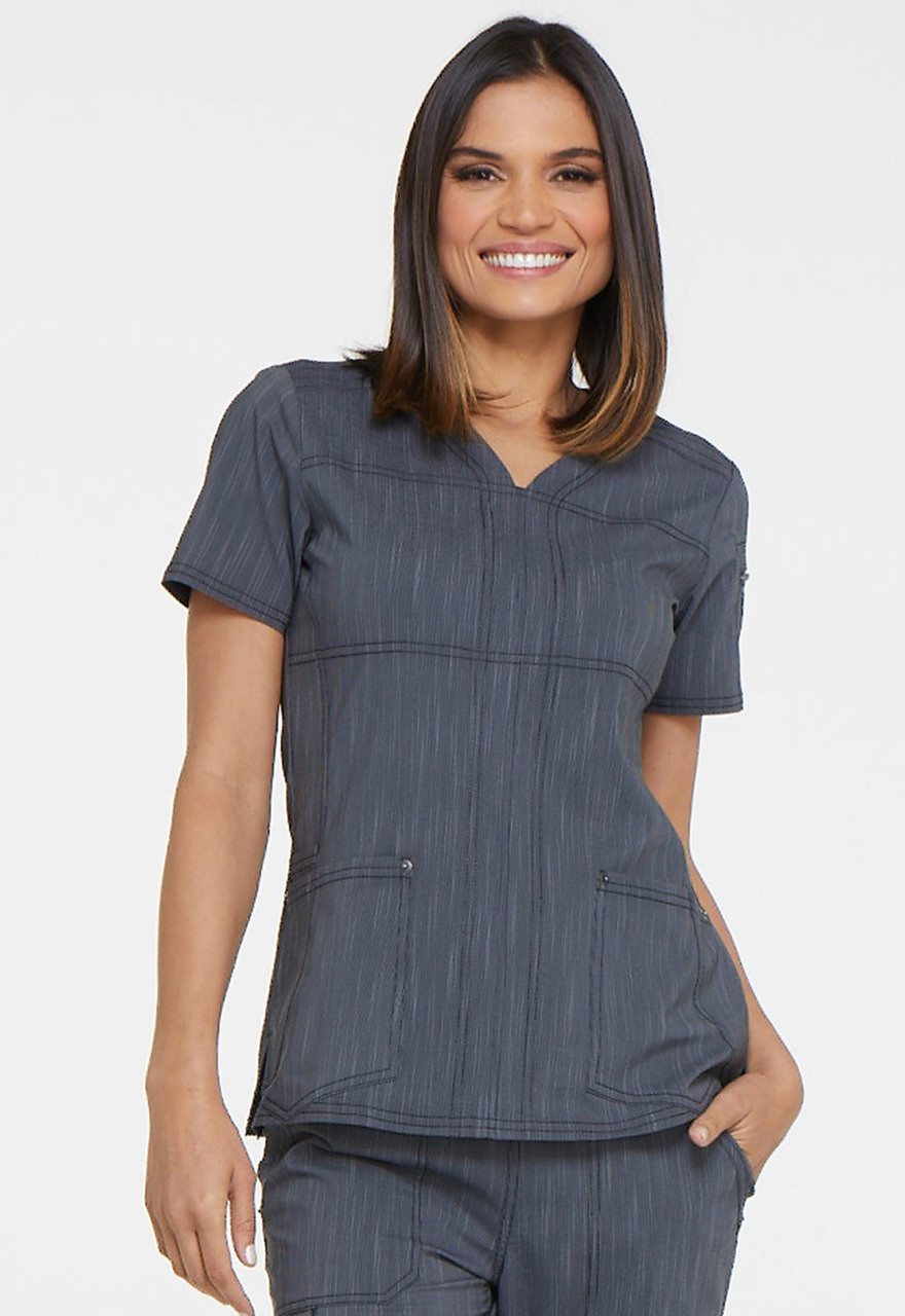 1b347fe4747 DK690) Dickies Advance Two Tone Twist V-Neck Top | Jens Scrubs