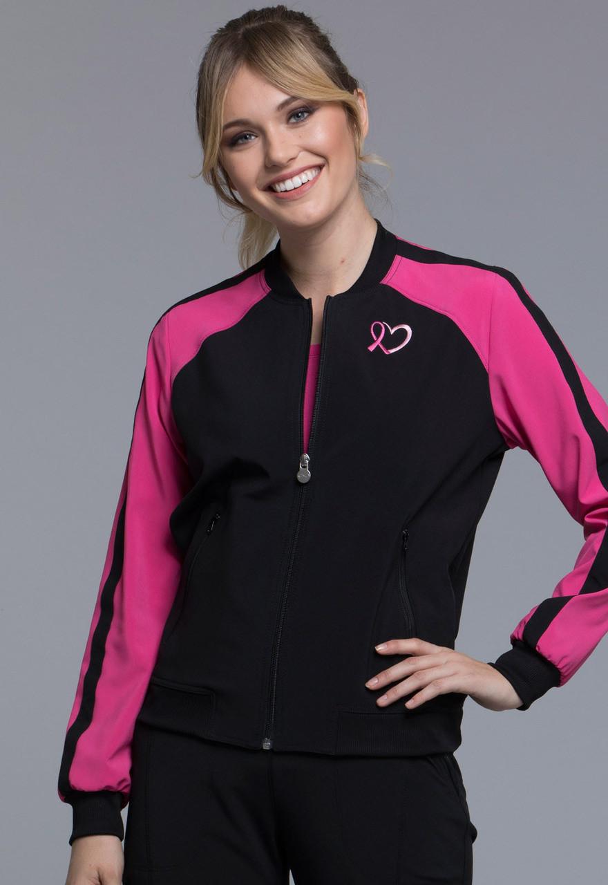 3045c4db4ea (CK320A) Cherokee Infinity Breast Cancer Awareness Zip Front Bomber Jacket  ...