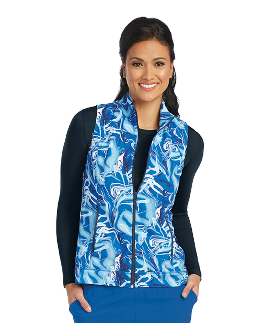 2c11ea35cff 5407-BCN) Barco One Blue Ocean Zip Front Print Scrub Vest  Jens Scrubs
