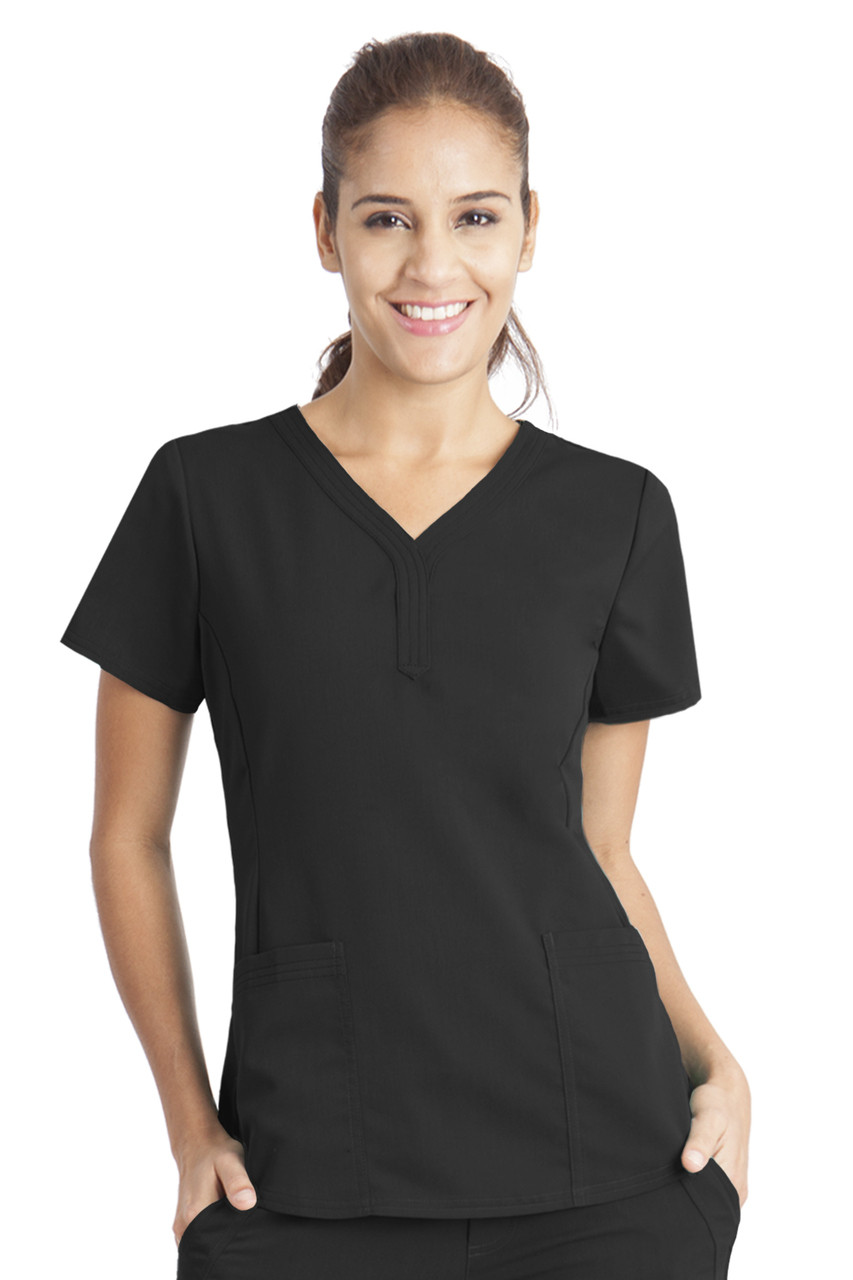(2167) Healing Hands Purple Label  Jane V-neck 2 Pocket Scrub Top