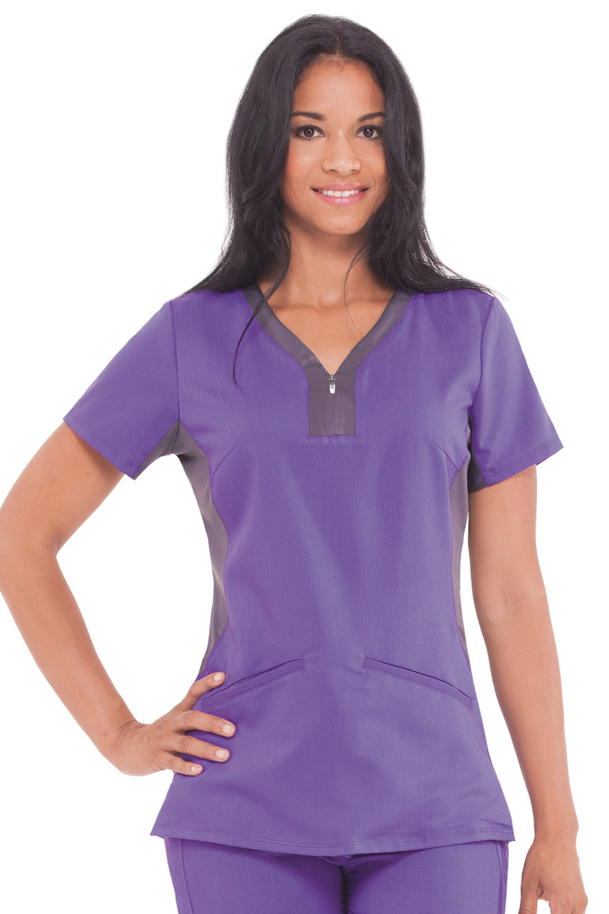 (2270) Healing Hands Purple Label Jessi Y-neck Contrast Knit Side Panels Scrub Top