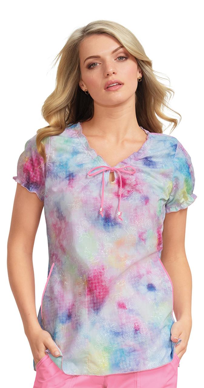 e42b285bf06 129E) Koi Bridgette Daisy Tie Dye Keyhole Print Scrub Tops |Jens Scrubs koi  women's