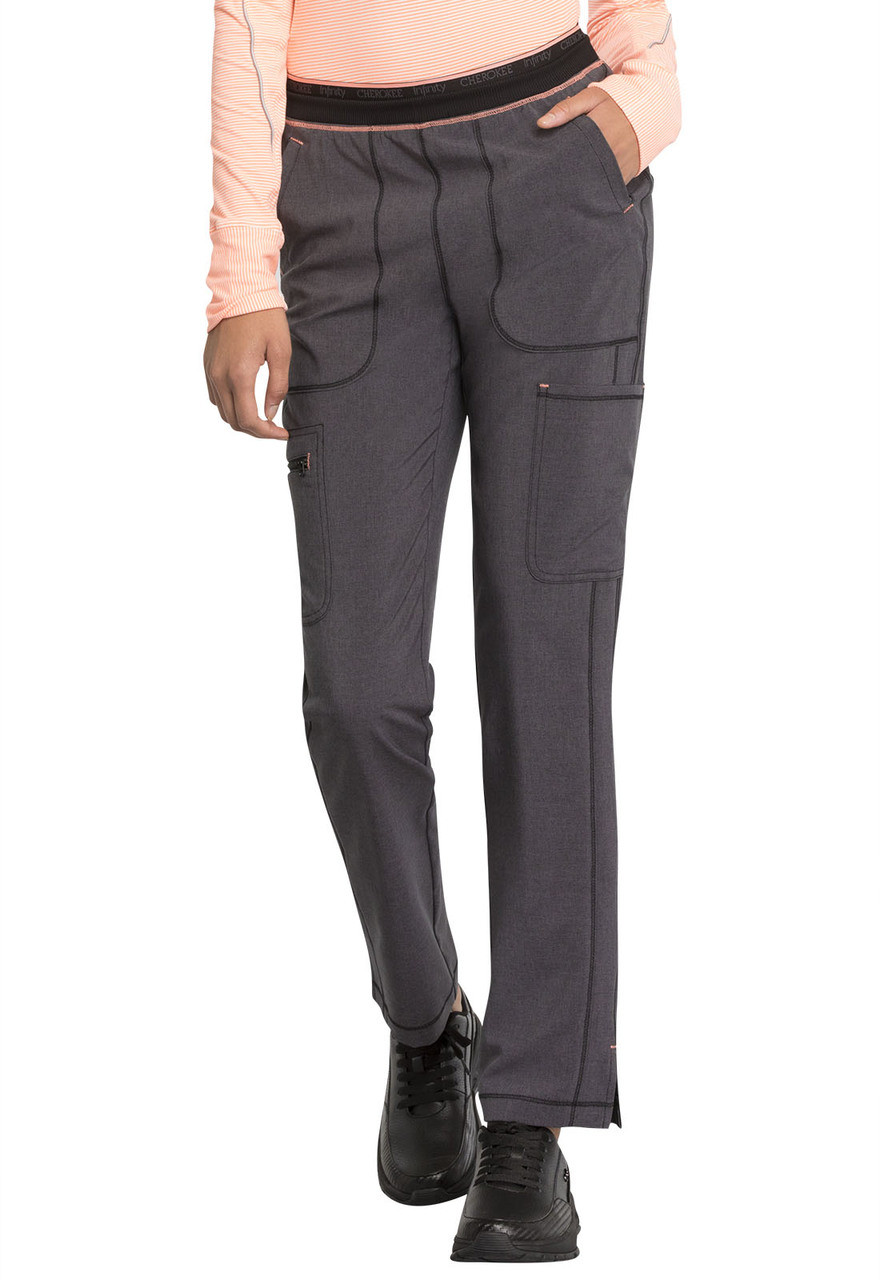 f21a53ccf3f (CK050A) Cherokee Infinity Mid Rise Tapered Leg Pull-on Scrub Pant ...