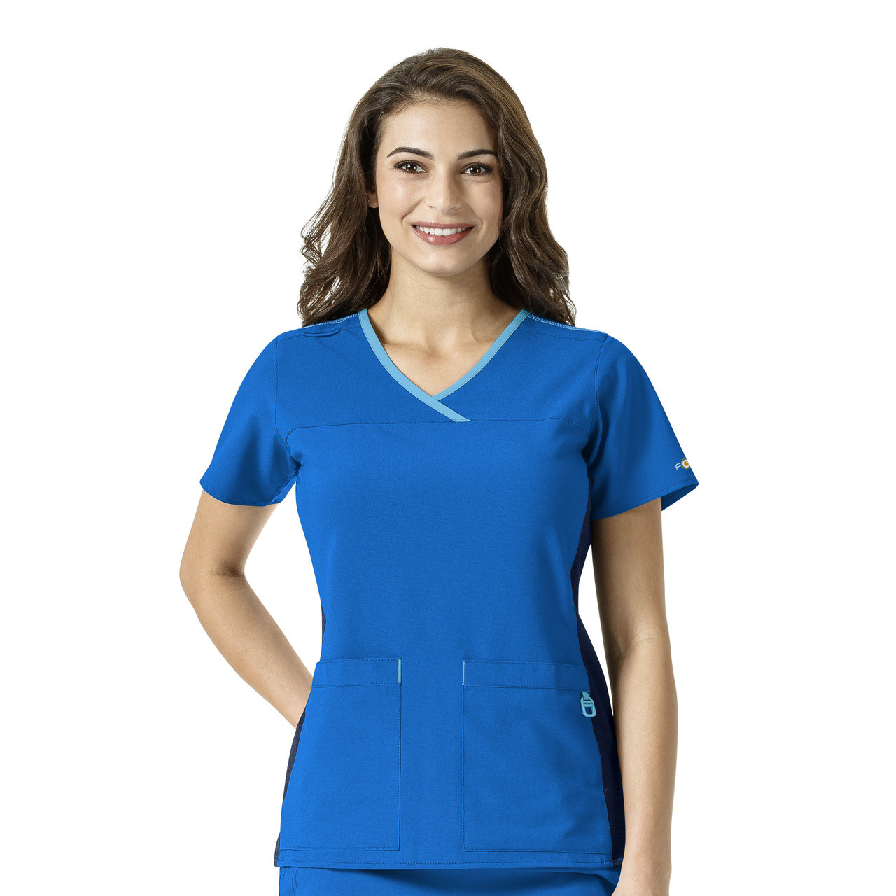 (C12510) Carhartt Cross-Flex Active Contrast Trim Y-neck Scrub Top