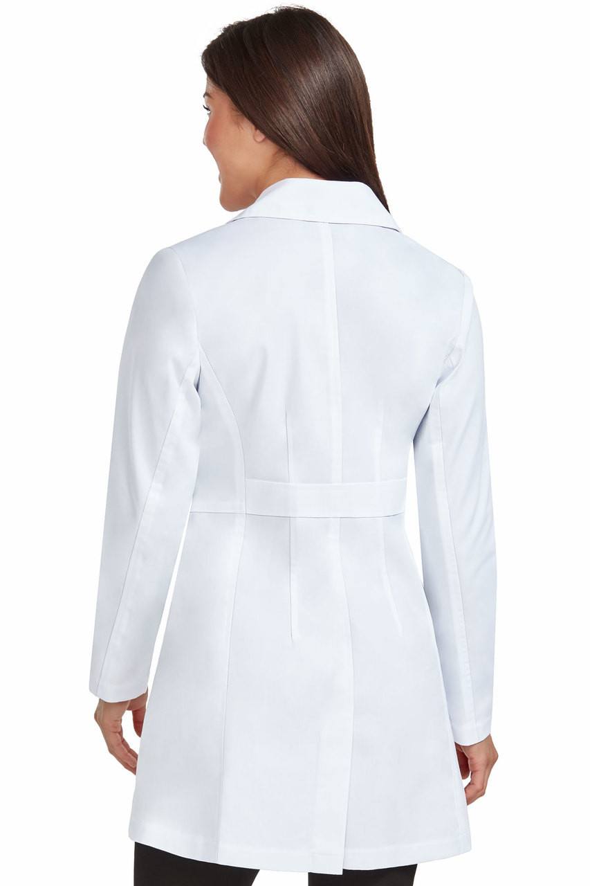 (9644) Med Couture Boutique Tailored 33 inch. Mid Length Lab Coat