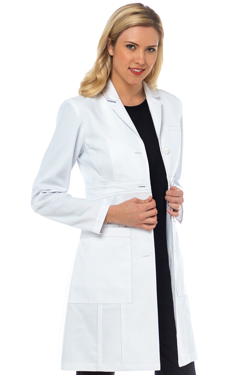 (9657) Med Couture Boutique Tailored 36 inch. Empire Lab Coat