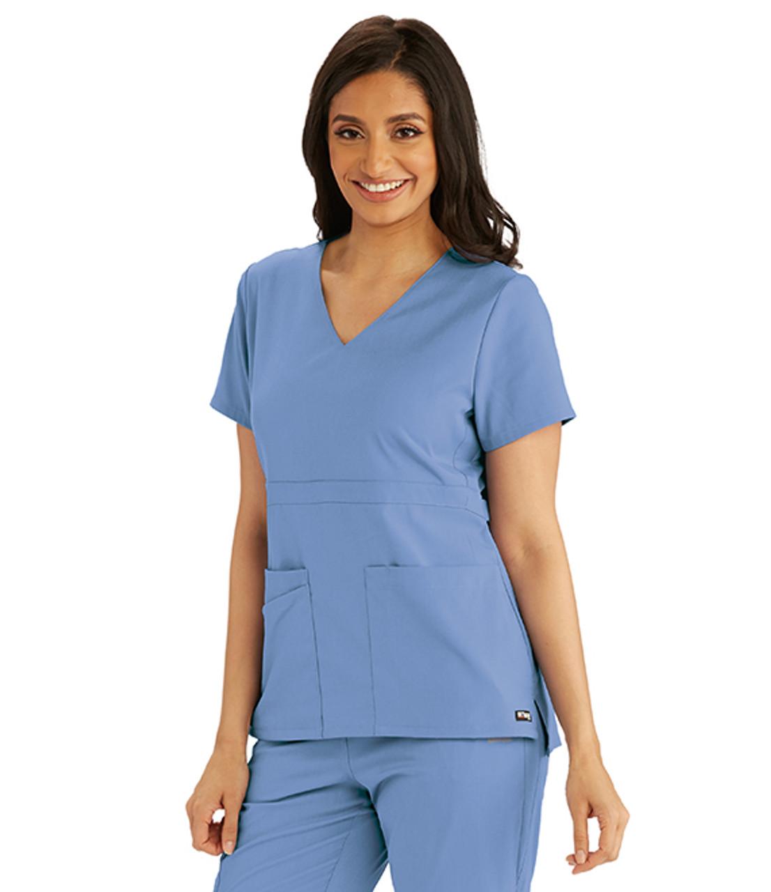(GRST027) Grey's Anatomy Spandex Stretch 3 Pocket Empire Waist Scrub Top