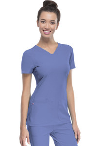 "(20710) HeartSoul Break on Through Scrubs ""PitterPat"" Shaped V-Neck Top"