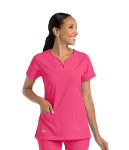 (2121) - Grey's Anatomy Signature Scrubs - 2 Pocket Notch Yoke Neck Scrub Top