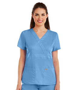(4153) - Grey's Anatomy Scrubs - 3 Pocket Mock Wrap Scrub Top
