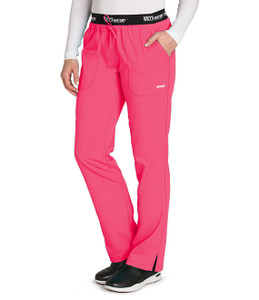 (4275P) Grey's Anatomy Active Scrubs - 3 Pocket Logo Waist Pant (Petite) - Pink Pop