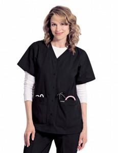 Cherokee Women/'s Short Sleeve Pockets V Neck Snap Front Tunic Scrub Top 1750