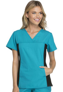 (2874) Cherokee Flexibles Scrubs V-Neck Knit Panel Top