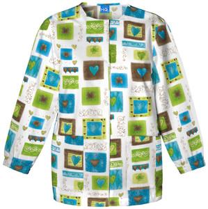 (4350-VCTR) Cherokee Workwear Scrubs Originals Snap Front Warm-Up Jacket - Victorian Hearts