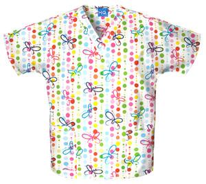 (4700-BUDO) Cherokee Workwear Scrubs Butterfly Dots Originals V-Neck Top | Jens Scrubs