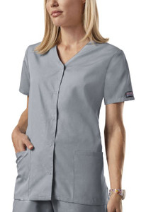 (4770) Cherokee Workwear Scrubs Originals - Snap Front V-Neck Top