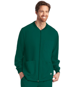 (SK0408) Skechers Men's Structure 3 Pocket Warm Up Zip Front Scrub Jacket - Hunter Green