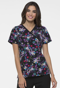 (EL602-BQBL) Elle Bouquet of Blooms Print V-Neck Scrub Top