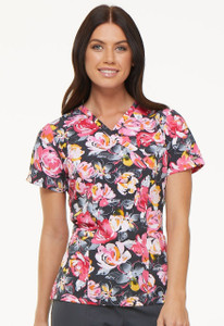 (EL602-ROPW) Elle Rose to The Occasion Print V-Neck Scrub Top