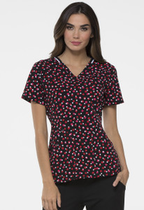 (EL615-DTRD) Elle Just Fleur You V-neck Print Scrub Top