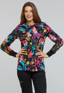 (TF300) Cherokee Tooniforms Color Ariels Garden Snap Front Warm-Up Jacket