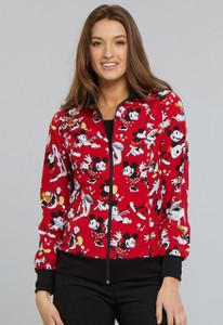 (TF301-MKHG) Cherokee Tooniforms Color Heritage Mickey Zip Front Warm-Up Jacket