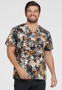 (DK725-GROT) Dickies EDS Great Outdoors Men's V-neck Print Scrub Top
