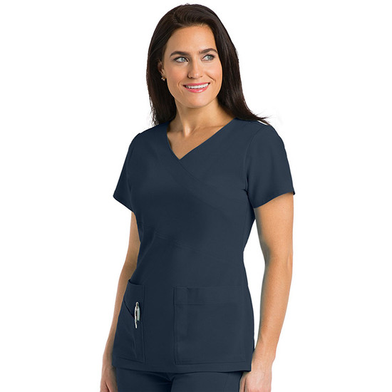 (2130) - Grey's Anatomy Signature - 3 Pocket Wrap Detail Scrub Top