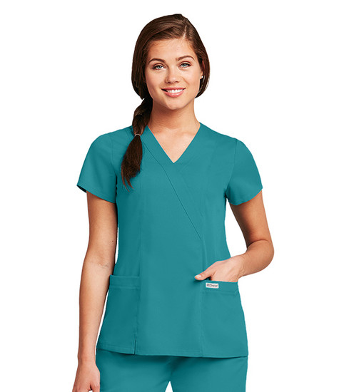 (41101) - Grey's Anatomy 2 Pocket Crossover Scrub Top