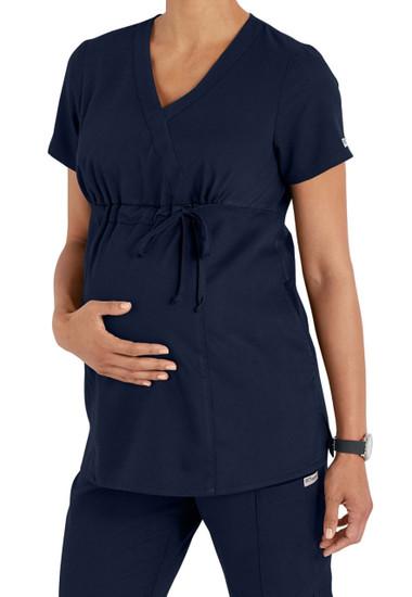 (6103) - Grey's Anatomy Anatomy Maternity Mock Wrap Scrub Top