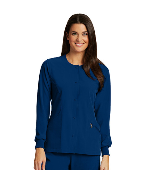 (5409) Barco One 4 Pocket Jewel Neck Warm Up Jacket