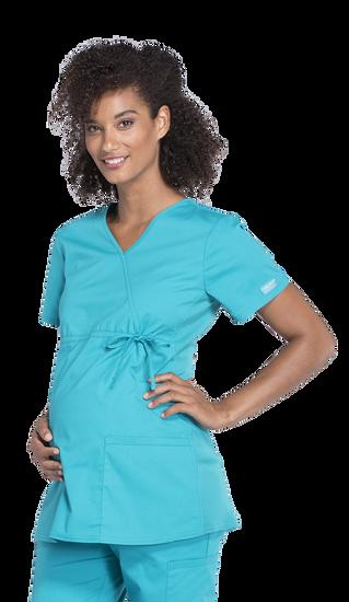 (WW685) Cherokee Workwear Professionals Maternity Mock Wrap Top