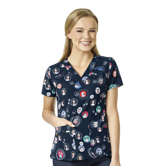 (6217-POL) WonderWink Four-Stretch V-Neck Print Scrub Top - Portrait Pals