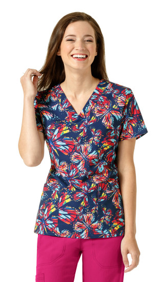 (6217-SRF) WonderWink Four-Stretch V-Neck Print Scrub Top - Summer Fly
