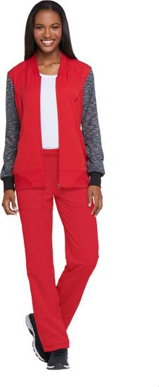 (DK350) Knit Sleeve Zip Front Scrub Jacket