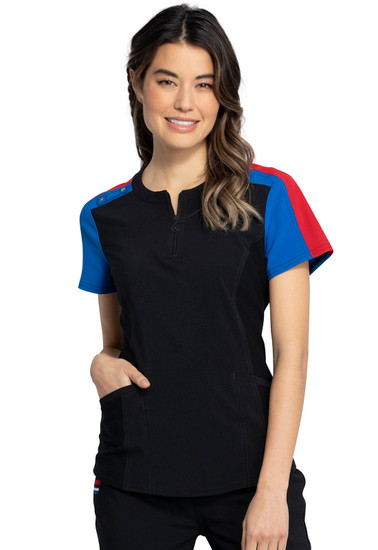 Katie Duke Zip Front Round Neck Top