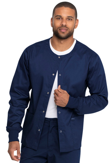 (GD300) Dickies Industrial Laundry Unisex Snap Front Jacket with Front Patch Pockets