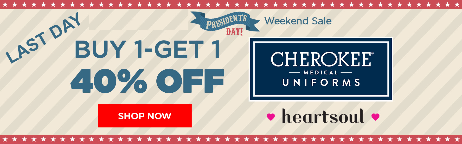 Last Day 20% Off Cherokee & HeartSoul Scrubs