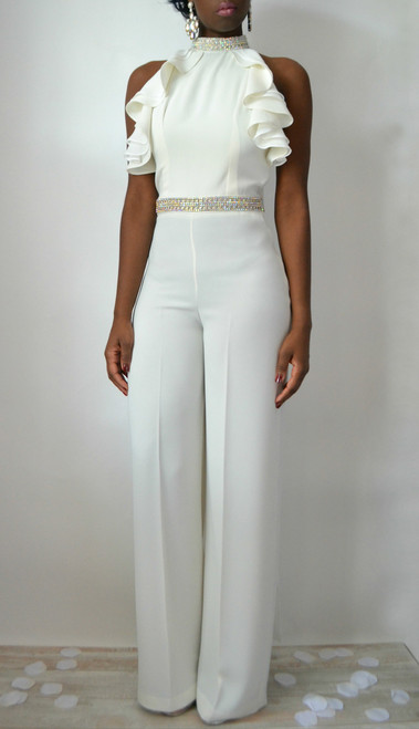 Monique Halter Cape Bridal Jumpsuit (Front)