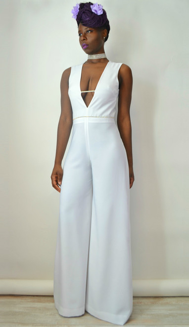 Deep V-neck Open Back Bridal Jumpsuit (Look)