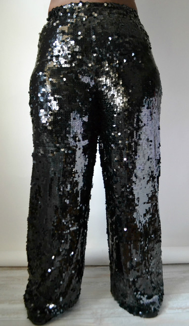 Daniela Tabois Plus Size Sequin wide leg pants (Front)