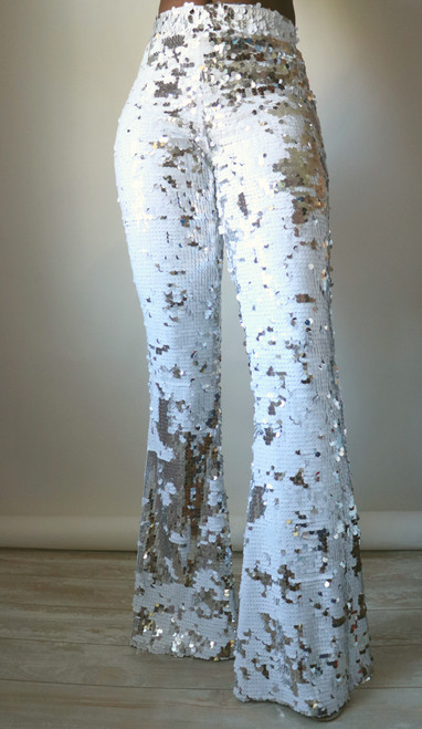 Silver & White Sequin Flare Pants